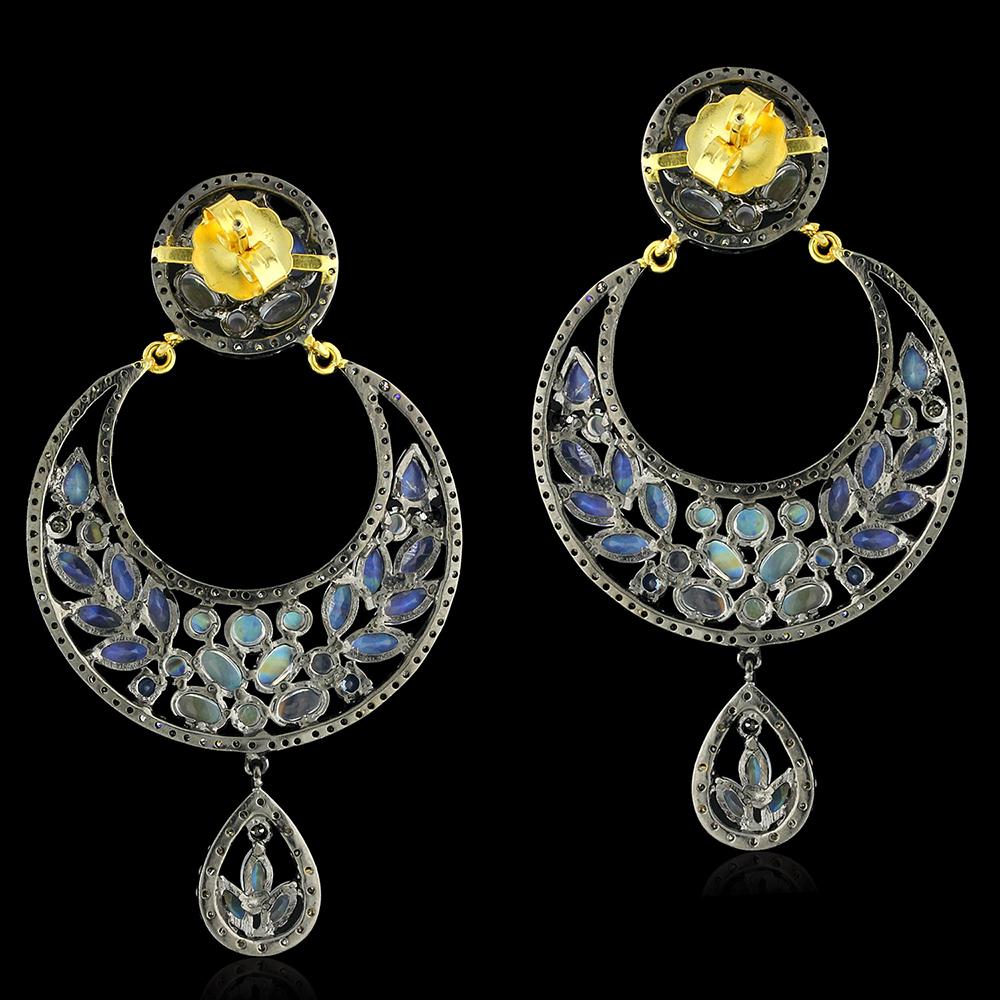 Women's Day Sale Moonstone Dangle Earrings 925 Silver 14k ...