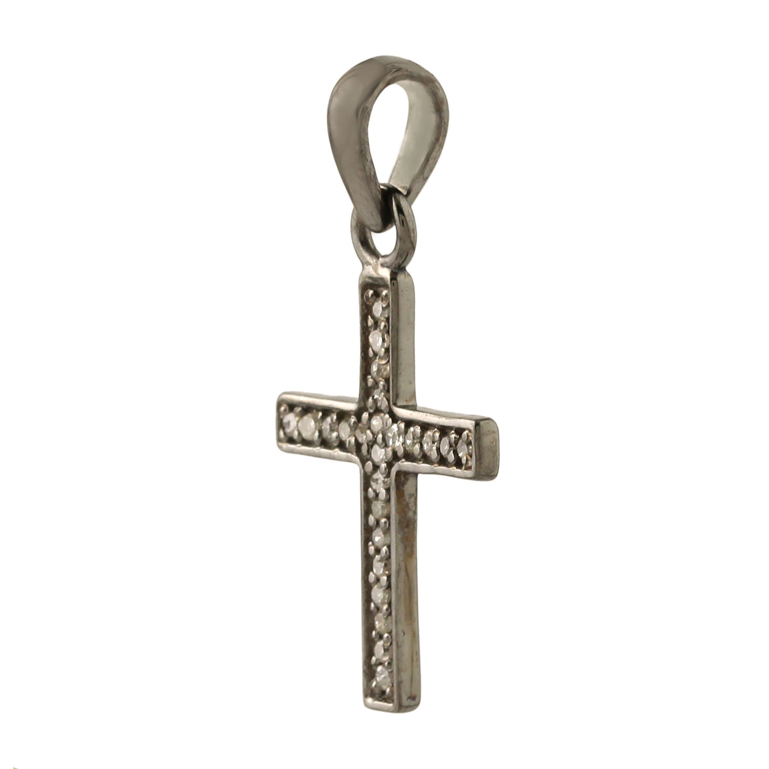 0-22ct-Pave-Diamond-Cross-Design-Charm-Pendant-925-Sterling-Silver-Jewelry-GIFT thumbnail 2