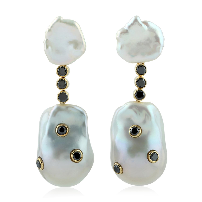 Natural Pearl Dangle Earrings Black Diamond Pave Earrings Yellow Gold Jewelry Ebay