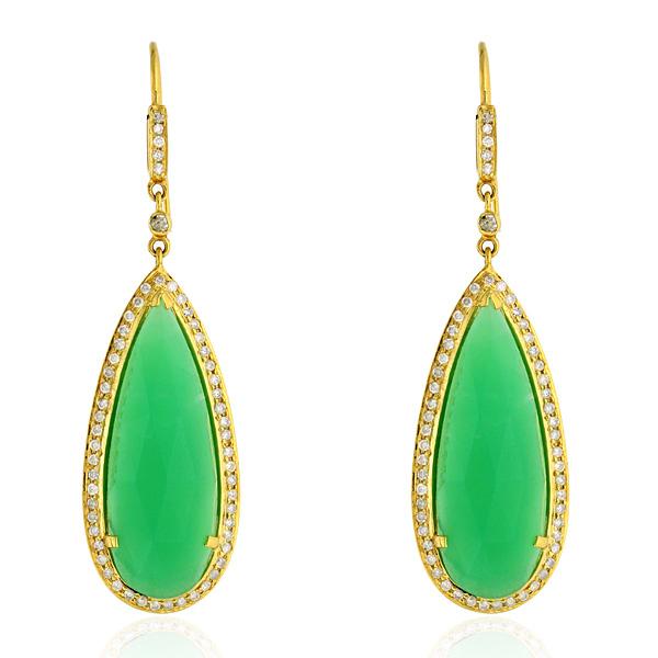 Chrysoprase-Gemstone-1-13ct-Pave-Diamond-Dangle-Hook-Earrings-18k-Yellow-Gold