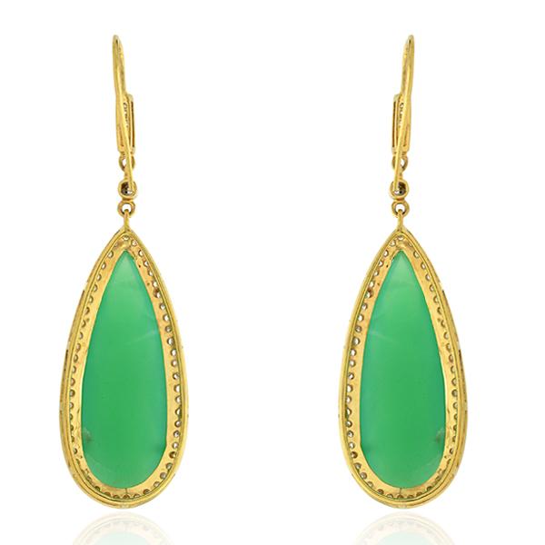 Chrysoprase-Gemstone-1-13ct-Pave-Diamond-Dangle-Hook-Earrings-18k-Yellow-Gold thumbnail 2