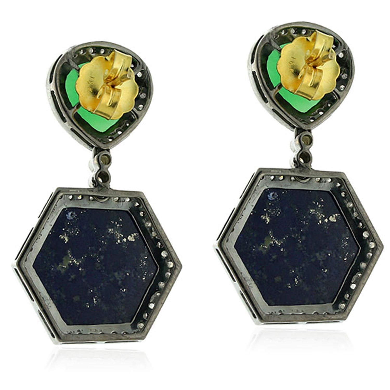 Chrysoprase-Gemstone-1-55ct-Pave-Diamond-Sterling-Silver-Lapis-Dangle-Earrings thumbnail 2