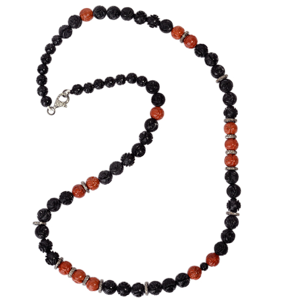 395-09-ct-Gemstone-Carving-Beaded-Necklace-Diamond-925-Sterling-Silver-Jewelry