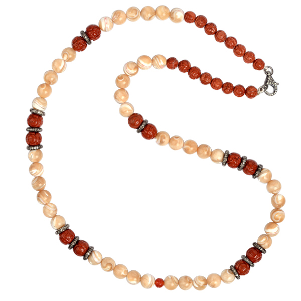 3-48ct-Pave-Diamond-Carved-Gemstone-Beaded-Necklace-925-Sterling-Silver-Jewelry