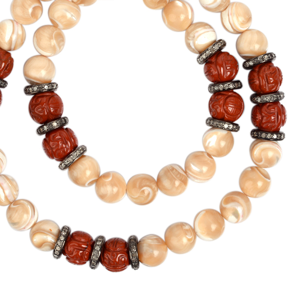 3-48ct-Pave-Diamond-Carved-Gemstone-Beaded-Necklace-925-Sterling-Silver-Jewelry thumbnail 2