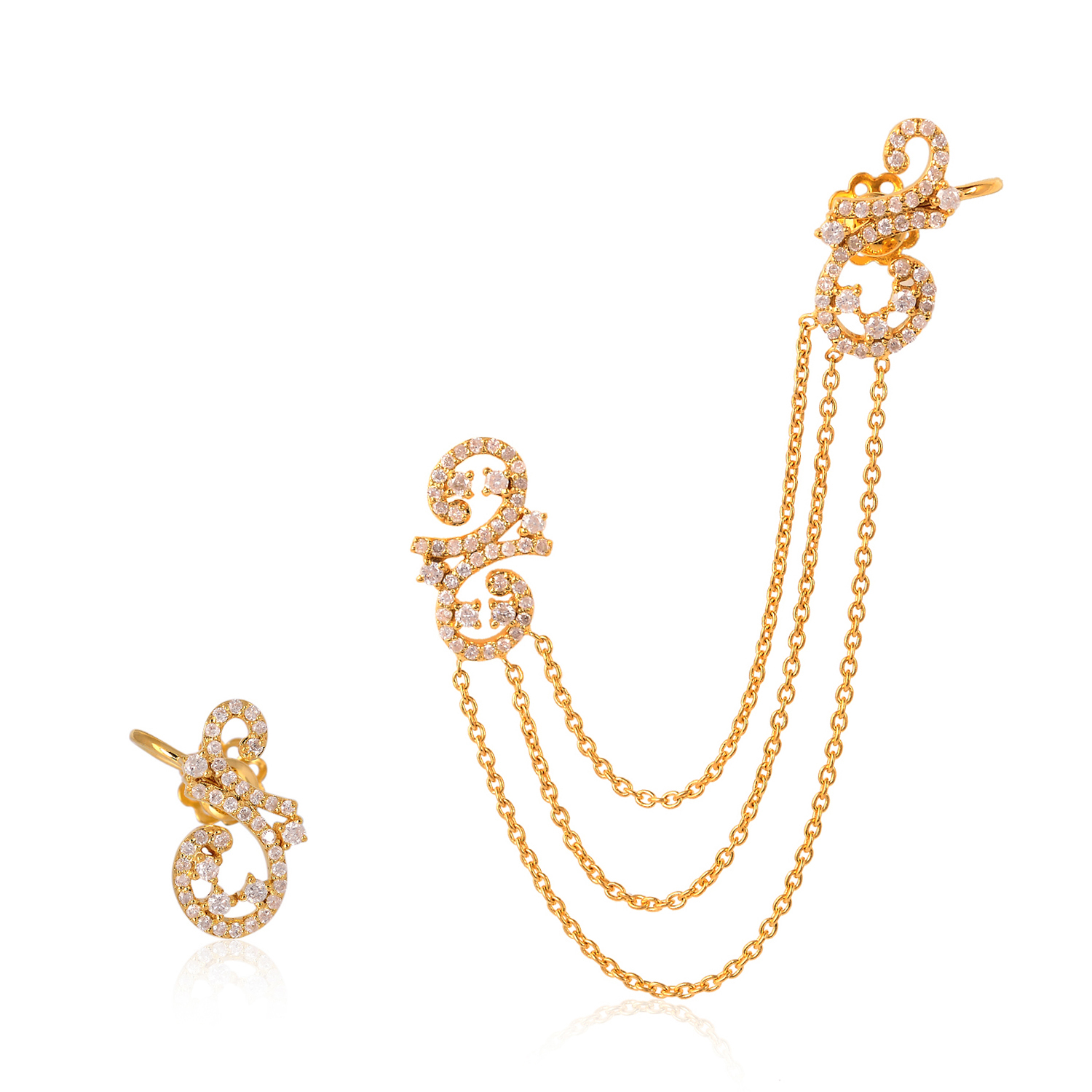 Details About 18kt Yellow Gold 1 01ct Pave Diamond Chain Cuff Earrings Party Wear Jewelry
