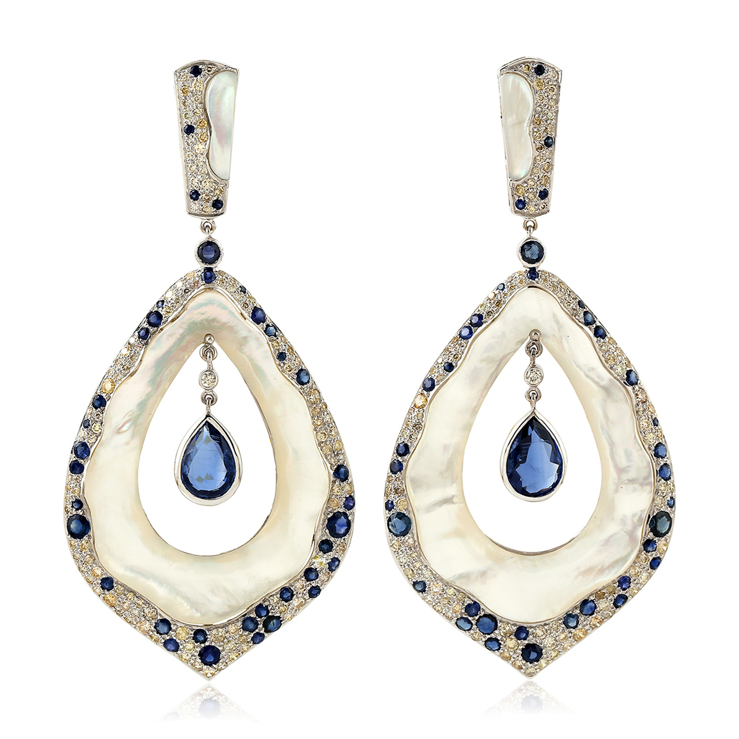 Kyanite-Gemstone-2-61ct-Pave-Diamond-White-Gold-Mother-Of-Pearl-Dangle-Earrings