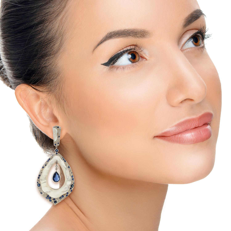Kyanite-Gemstone-2-61ct-Pave-Diamond-White-Gold-Mother-Of-Pearl-Dangle-Earrings thumbnail 2