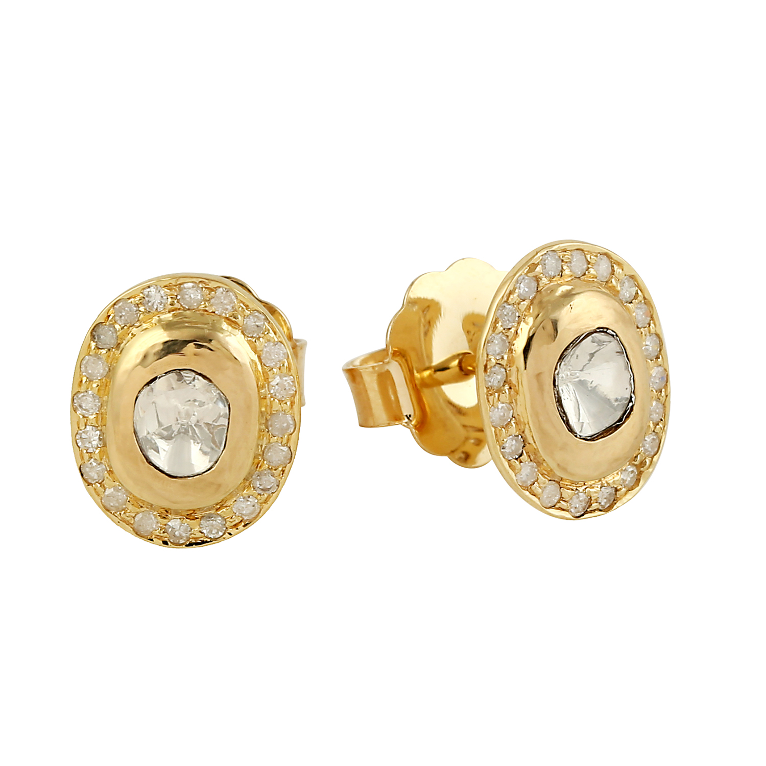c42685269 Details about Valentine's Day Rose Cut Diamond 18k Yellow Gold Stud Earrings  Handmade Jewelry